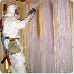 An example of Spray Foam insulation being installed in an Eau Claire home.